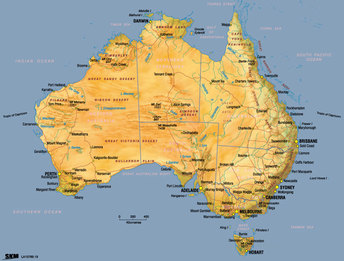Tourism Australia Home - Australia physical map
